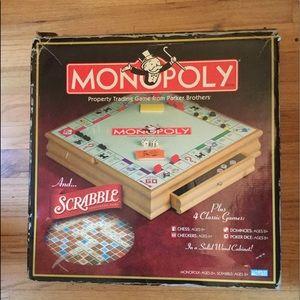 MONOPOLY SCRABBLE PLUS 4 GAMES VTG WOOD CABINET